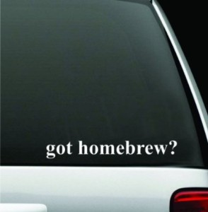 "got homebrew? White Decal Sticker High Quality Vinyl 2"" X 8"" bumper sticker"