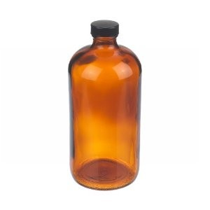 Wheaton W216853 Boston Round Bottle, Amber Glass, Capacity 32oz With 33-400 Black Phenolic Poly-Seal Lined Screw Cap, Diameter 94mm x 206mm (Case Of 12)