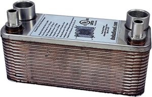 """Duda Energy HX1230:F34CU38 B3-12A 30 Plate Stainless Steel Heat Exchanger with 3/4"""" Female NPT x 3/8"""" Copper Sweat Ports Copper Brazed, 2.9"""" Height, 2.9"""" Width, 7.5"""" Length"""