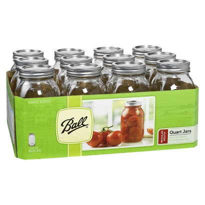 Ball 1 Quart (32 oz.) Regular Mouth Canning Jar - Set of 12