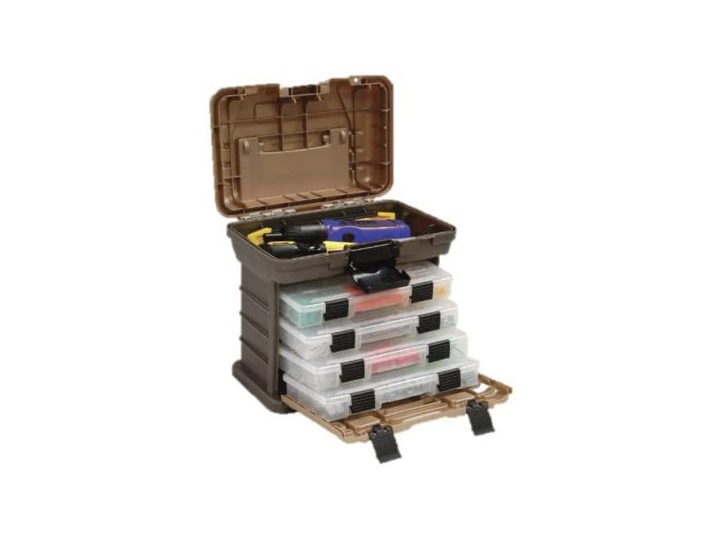 Plano Molding 135430 Stow N' Go Pro Rack with 4 #23500s Prolatch Organizers,Graphite Gray, Sandstone