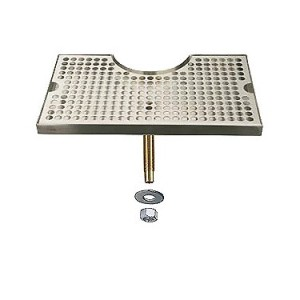 "Beer Drip Tray Stainless Surface Mount 3"" Column Cut-Out w/ Drain"