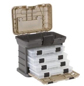 Plano Molding 1354 Stow N Go Tool Box with 4 23500 Series StowAways, Graphite Gray and Sandstone