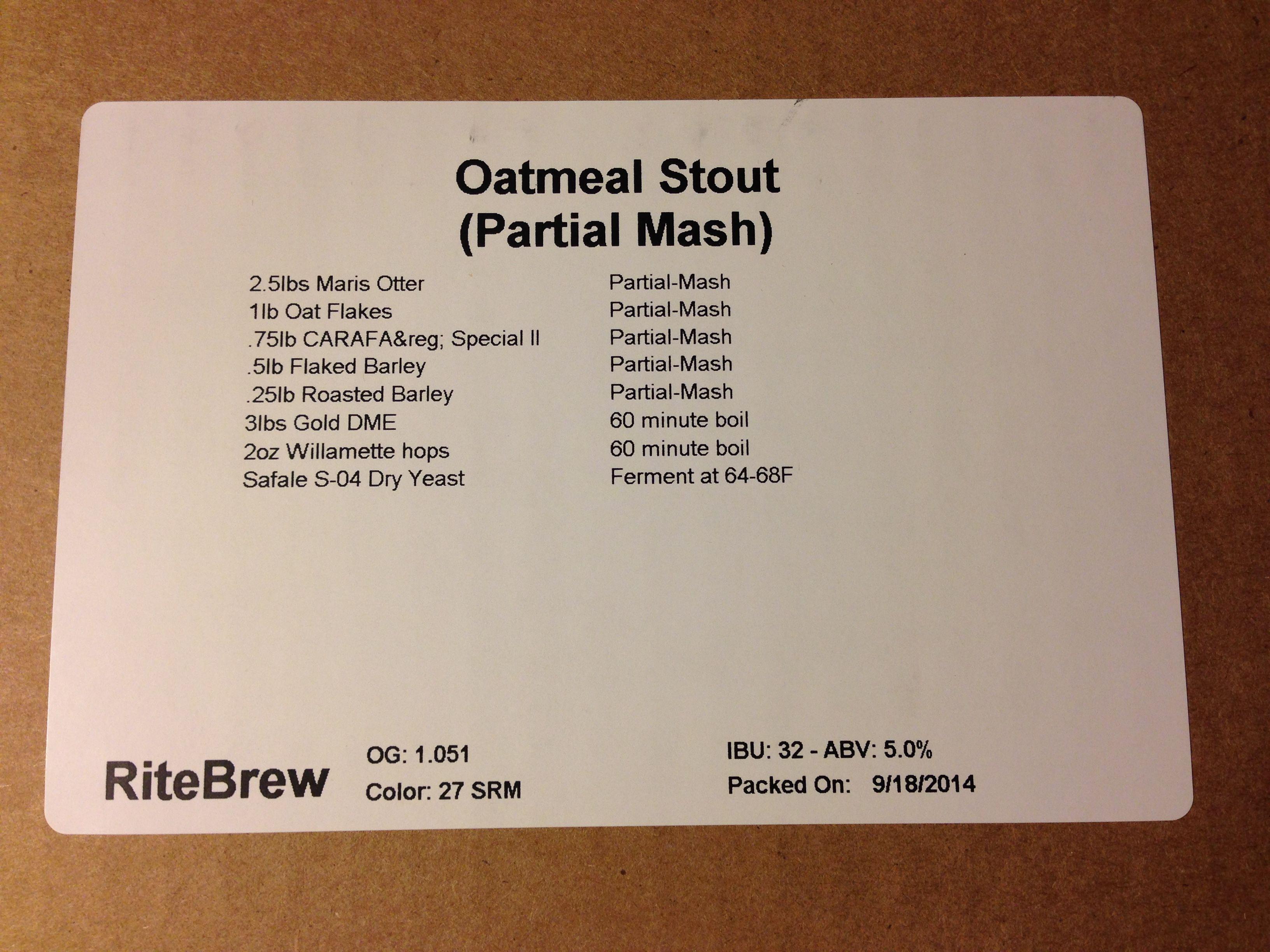 RiteBrew Oatmeal Stout Homebrew