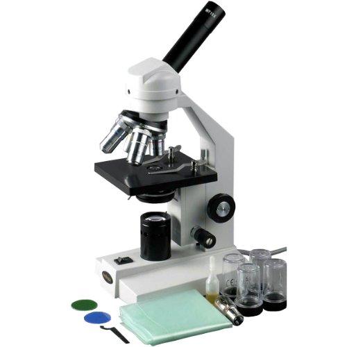 AmScope M500 Monocular Compound Microscope, WF10x Eyepiece, 40x-1000x Magnification, Anti-Mold Optics, Tungsten Illumination, Brightfield, Abbe Condenser, Coarse and Fine Focus, Plain Stage