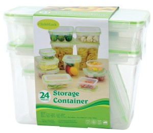 24 Piece Plastic Food Storage Containers Set with Click And Lock Lids