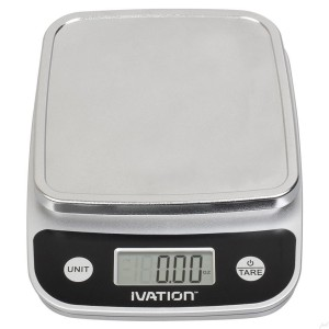 Ivation Lightweight Digital Kitchen/Food Scale w/Plastic-Covered Buttons - Ounce, Milliliter & Gram Weight Units - Features 11 Pounds Capacity & One-Button Tare Setting, Black