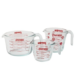 Pyrex 1118990 3-Piece Measuring Cup Set, Clear