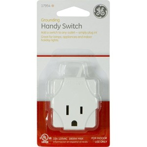 GE 17954 Grounding Indoor Handy Switch, White
