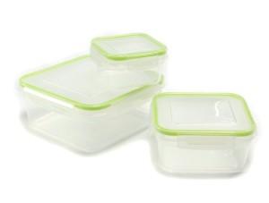 6-pc Square Plastic Container W/click & Lock Lid