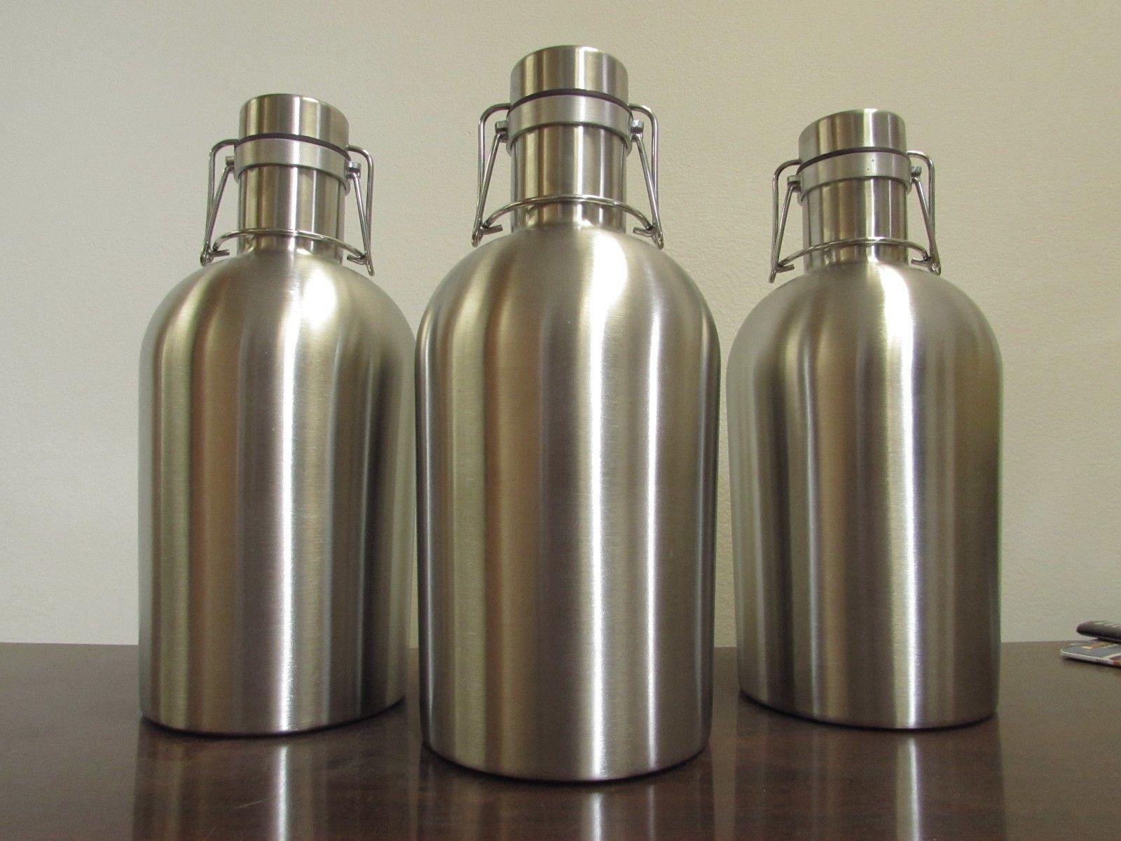 CASE OF 6- STAINLESS STEEL 64 Oz Beer Growlers - Craft Beer Flip Top Bottle