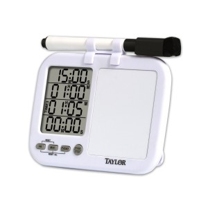 The Taylor 5849 Whiteboard Timer is a part of my Brew Day Box.  It times four events and includes a small whiteboard to indicate what each event is for.  Perfect for timing brew day kettle/hop additions.   Taylor 5849 Quad Kitchen Timer with Whiteboard