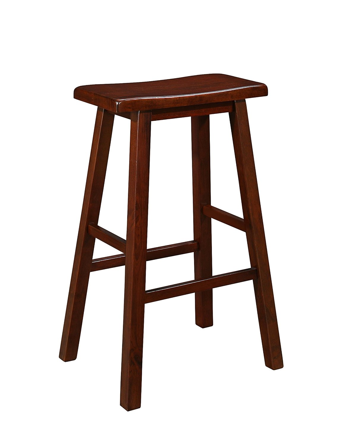 Naomi Home Longmont Wooden Saddle Stool Cherry 29