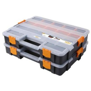 15-Compartment Interlocking Organizer, Black (2-Pack)