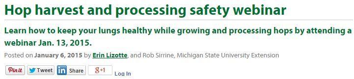 Hop Harvest Processing Safety