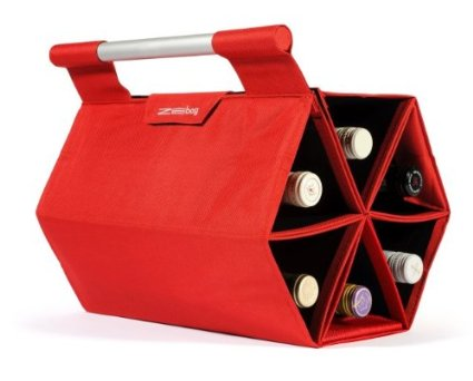 ZEbag Ultimate Wine Bottle Carrying Case, Carry up to 6 bottles at once, for Use As Bag or Bar Mode, Red
