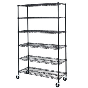 Black/Chrome Commercial 6 Tier Shelf Adjustable Steel Wire Metal Shelving Rack