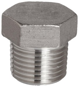 "Stainless Steel 316 Cast Pipe Fitting, Hex Head Plug, Class 150, 1/4"" NPT Male"
