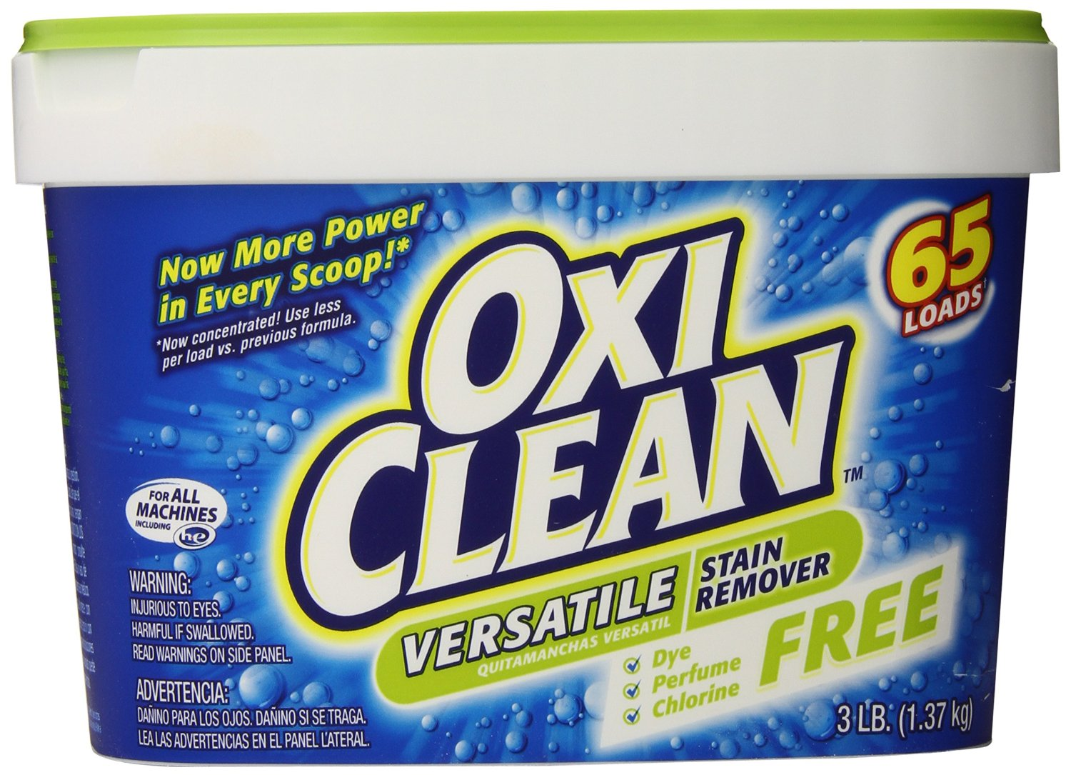 Oxiclean Versatile Stain Remover Free, 65 Loads, 3 Pounds (Pack of 4)