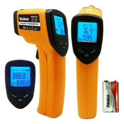 Nubee® Temperature Gun Non-contact Infrared Thermometer w/ Laser Sight MAX Display and Emissivity Adjustable