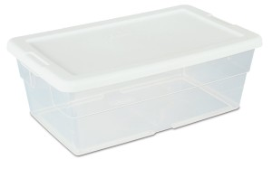 Sterilite 16428012 6-Quart Storage Box, White Lid with See-Through Base, 12-Pack