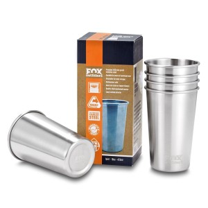 Stainless Steel Pint Cups (Pack of 5) - Multi-use 16oz Cups Made from Premium 18/8 SS. BPA & Toxin Free. NEW Electropolished Finish.