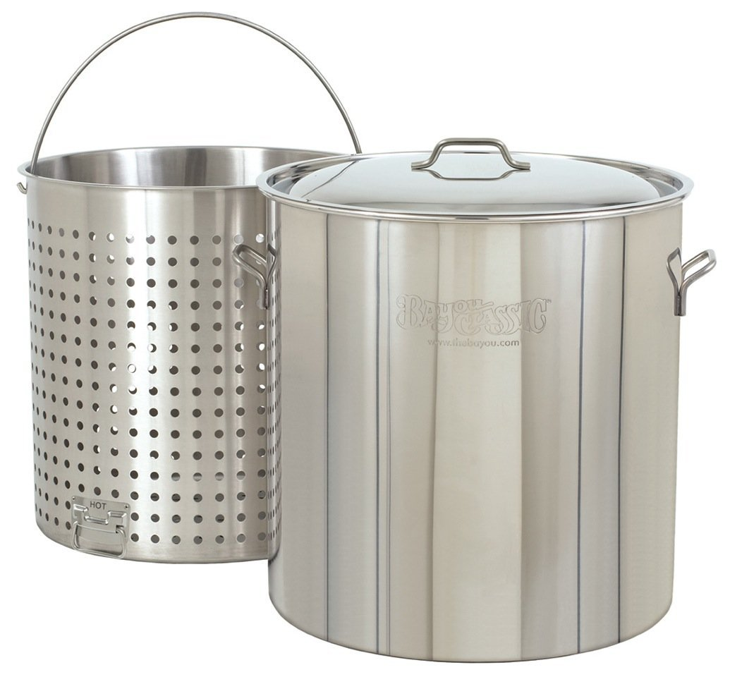 Bayou Classic 1142 142-Qt. Stainless Steel Stockpot with Boil Basket (Discontinued by Manufacturer)