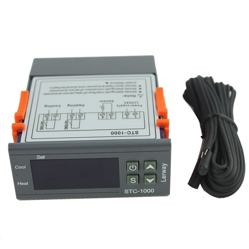Lerway 110V All-Purpose Temperature Control Controller with Sensor 2 Relay Output Thermostat Stc-1000