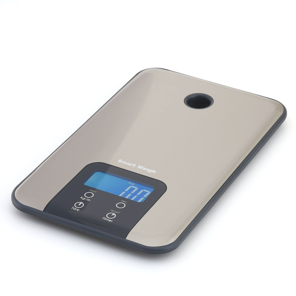 Smart Weigh Digital Kitchen Scale and Timer - Food Scale - Slim Stainless Steel Design - High Accuracy - LCD Backlight