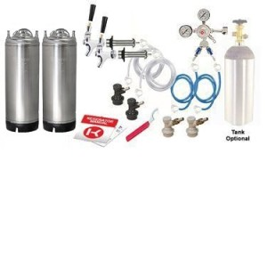 Kegco Two Homebrew Keg Door Mount Kegerator Kit - New Ball Lock Kegs