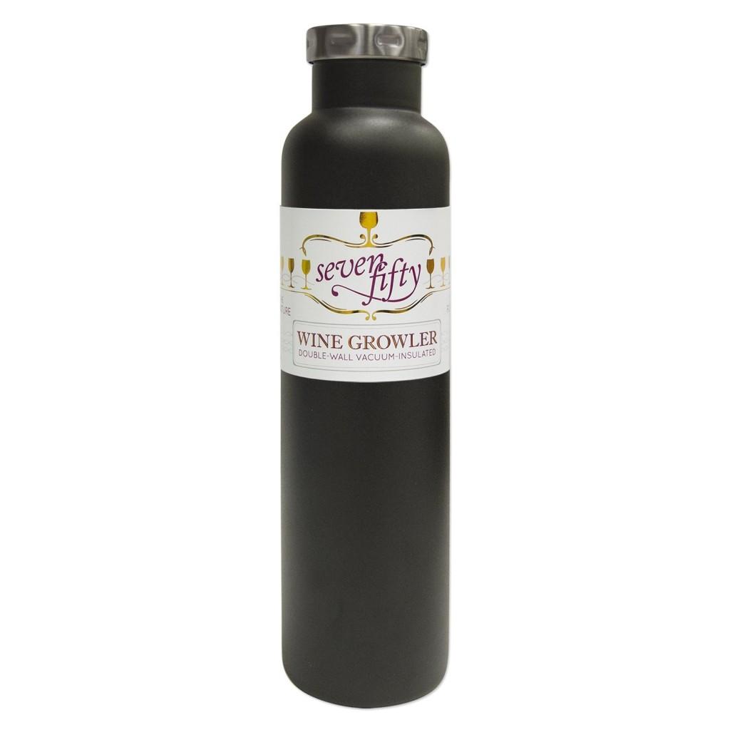 Lifeline 7512BK Black Stainless Steel Vacuum Insulated Double Wall Bottle Style Growler - 750ml. Capacity
