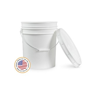 5 Gallon White Bucket & Lid - Set of 1 - Durable 90 Mil All Purpose Pail - Food Grade - Plastic