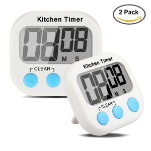Etekcity 2 Pack Digital Kitchen Timer, Large Display Screen, Loud Sounding Alarm, Strong Magnetic Backing, Retractable Stand Hook, Battery Included