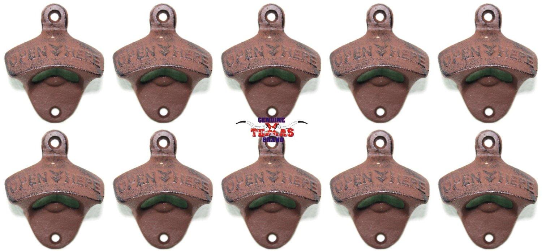 """Set of 10 """"Open Here"""" Cast Iron Wall Mount Bottle Opener Vintage Look Replica"""