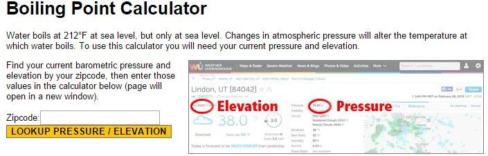 Boiling Point Calculator – Elevation and Pressure   Homebrew Finds