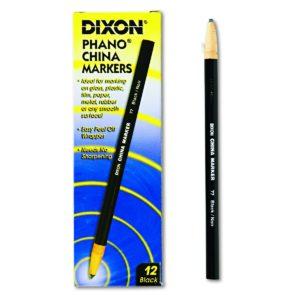 Dixon Phano Peel-Off China Marker Pencils, Black, 12-Count (00077)