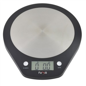 Famili FM203BB Pronto Digital Accurate Kitchen Scale with Stainless Steel Platform for Weighing Food and Liquids,Black