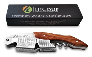 Rosewood Waiters Corkscrew by HiCoup - Premium All-in-one Wine Opener, Bottle Opener and Foil Cutter - No Risk, Lifetime Money-back Guarantee!