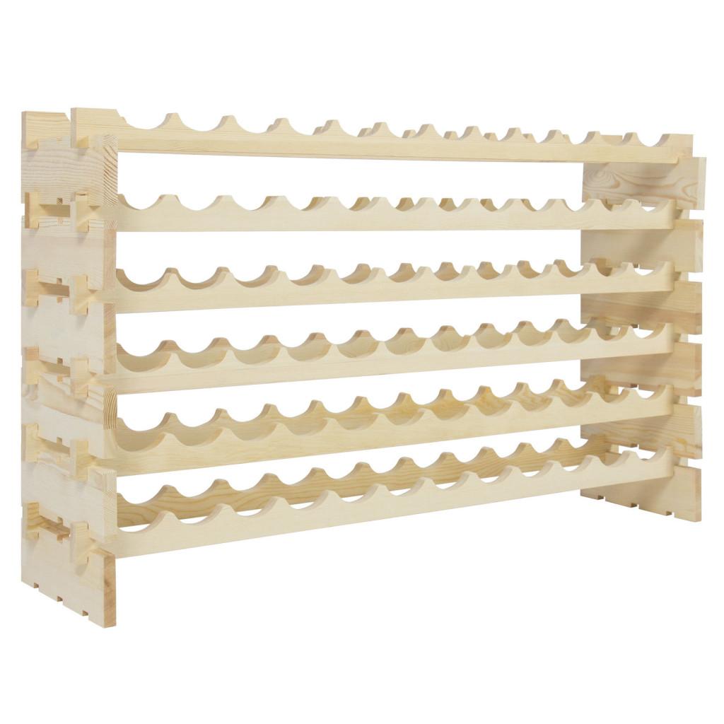Wine Rack 72 Bottles Stackable Storage 6 Tier Solid Wood Display Shelves
