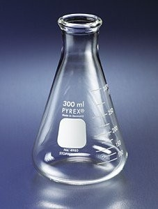 Flask, ERLENMEYER NARROW MOUTH ~ PYREX® GLASS 2L