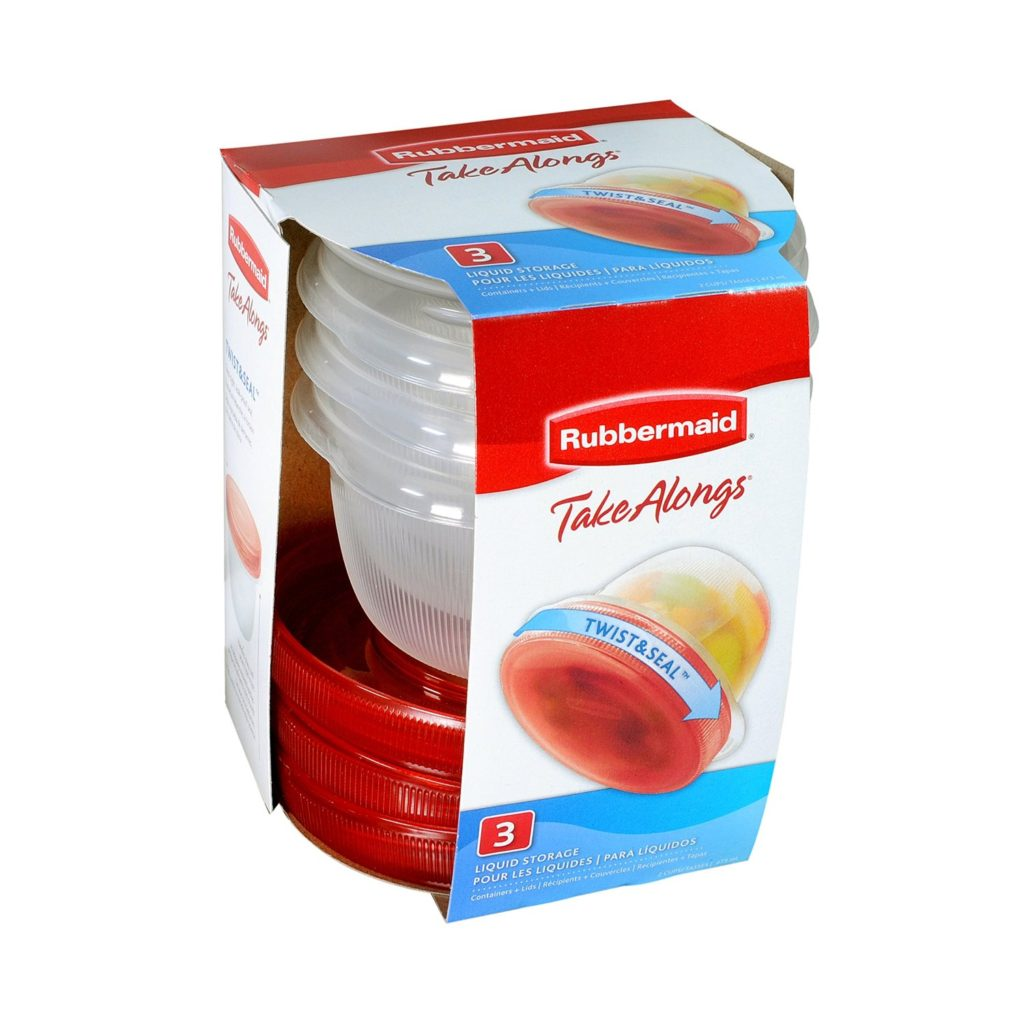 Rubbermaid TakeAlongs Twist and Seal Food Storage Containers, 2-Cup, Clear, Set of 3