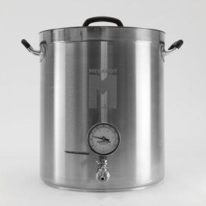 MegaPot 1.2 Stainless Steel Brew Kettle Pot - 10 Gallon w/ ball valve and thermometer - 40 Quart