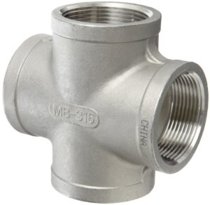 """Stainless Steel 304 Cast Pipe Fitting, Cross, Class 150, 1/2"""" NPT Female"""