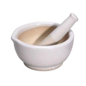 """Karter Scientific 213Y6 Porcelain Mortar Pestle, Glazed, 2.5"""", 60 mm, 5"""" Height"""