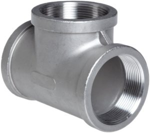 """Stainless Steel 316 Cast Pipe Fitting, Tee, MSS SP-114, 1/2"""" NPT Female"""
