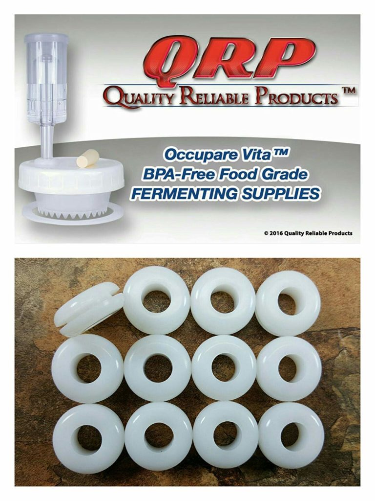 "12 QRP PLASTIC LID AIRLOCK GROMMETS 1/16"" Groove White Food Grade Silicone for fermenting in Mason Jars ~ Bulk Quantities Available"
