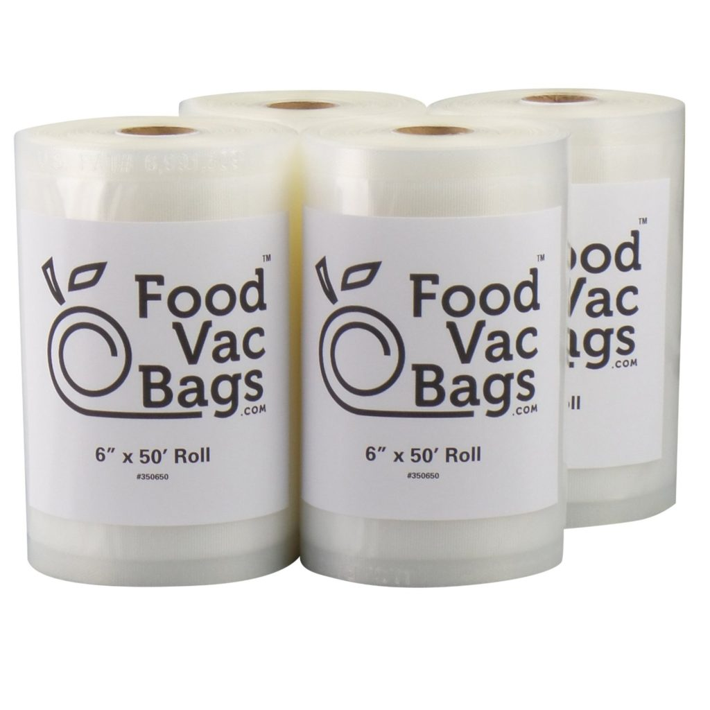 "Four 6"" X 50' Rolls of FoodVacBags Vacuum Sealer Bags"