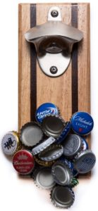Bruntmor, CAPMAGS Strong Magnetic w/ Zinc Alloy Beer Opener & Cap Catcher - Rubberwood Hand Painted