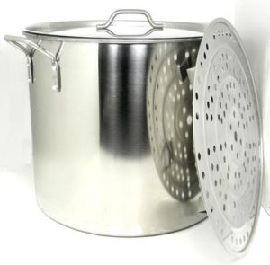 Have one to sell? Sell now 100 QT QUART HD Stainless Steel Stock Beer Brew Pot Lid Steamer Rack BA79/100