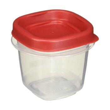 Rubbermaid 712395886298 Easy Find Lids Square 1/2-cup Food Storage Container (Pack of 12 Cups), 12 Counts, Red, 12 Count
